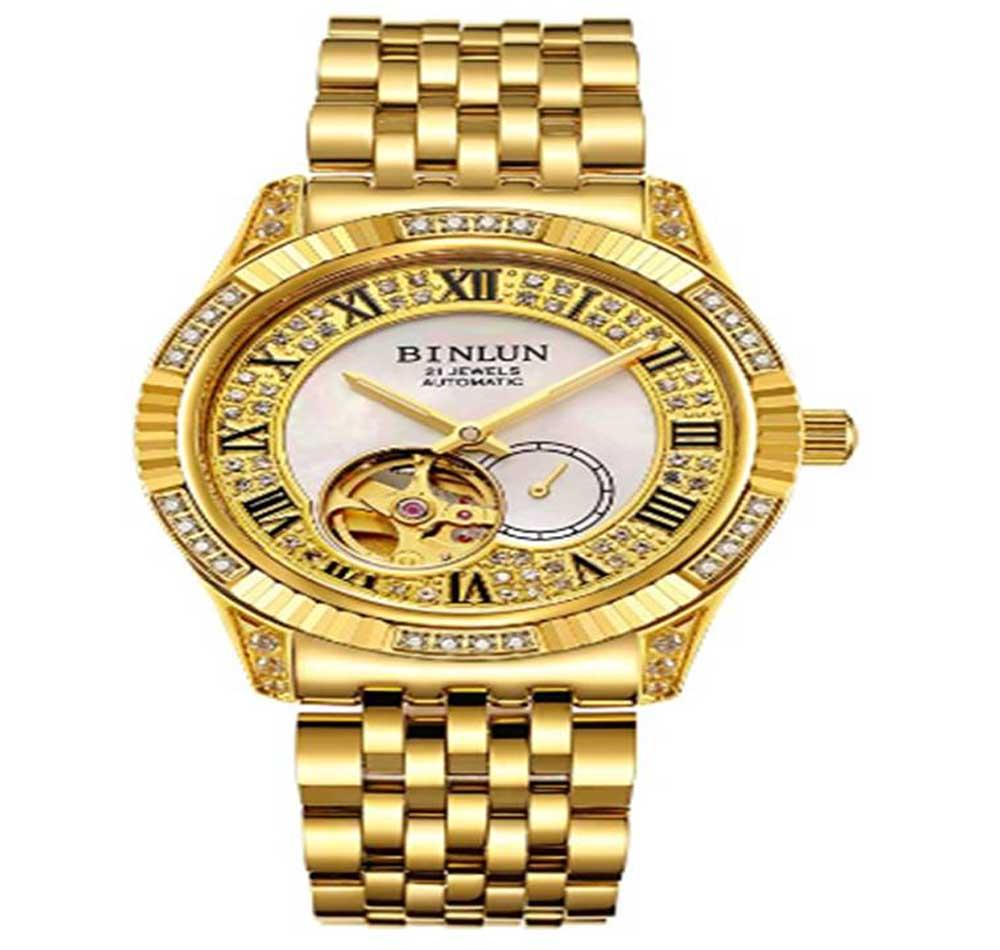 Reloj de oro de hombre BINLUN BL0018GS